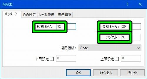「オシレーター」→「MACD」の順に選択